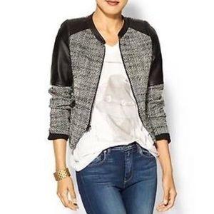 Parker Tweed and Leather Trim Moto Jacket blazer